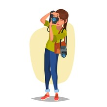 Female Photographer Vector. St...