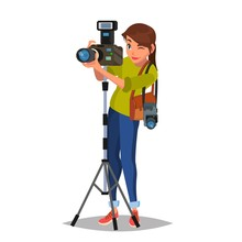 Young Female Photographer Vect...