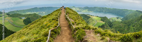 Trek towards the Miradouro da Boca do Inferno overlooking Sete Cidades on the is Canvas Print