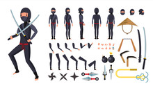Ninja Vector. Animated Character Creation Set. Ninja Tools Set. Full Length, Front, Side, Back View, Accessories, Poses, Face Emotions, Gestures. Isolated Flat Cartoon Illustration