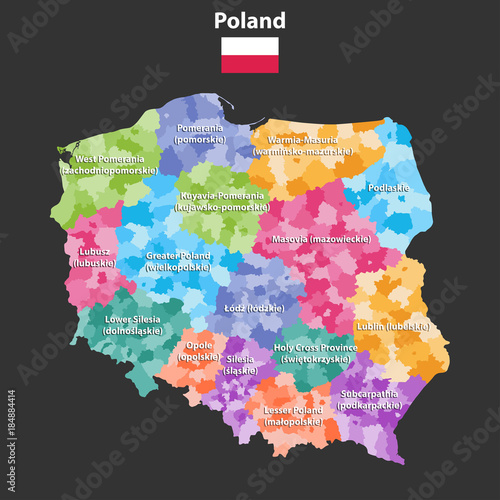 Photo Poland provinces(known as voivodeships) vector map with administrative divisions