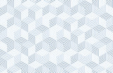 Seamless geometric pattern with hexagons and lines. Irregular structure for fabric print. Monochrome abstract background. - 184893483