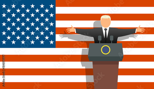 Foto US president and flag