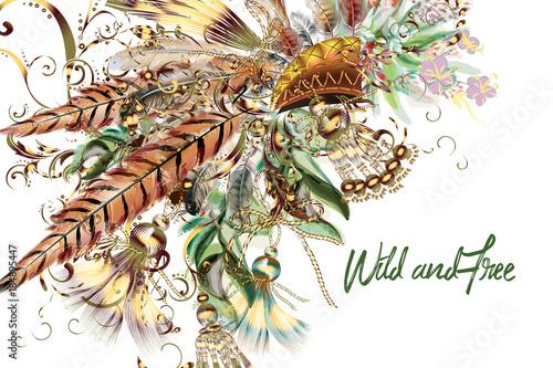 boho-plemienne-tlo-botaniczne