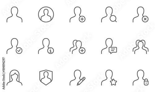 Fotografía  Users and Avatars Vector Line Icons