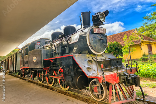 Da lat, Viet Nam - November 27th, 2017: Ancient railway station is famous place, history destination for traveller, french architecture, antique train tranport tourist to visit in Da lat, Vietnam