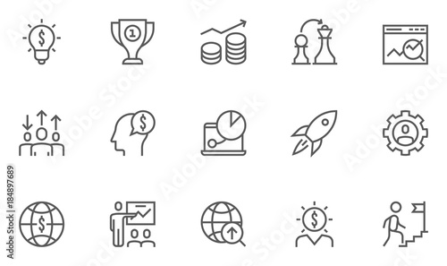 Fotografía Set of Business Strategy Related Vector Line Icons.