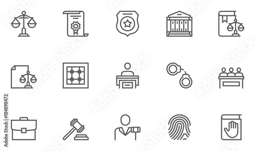 Fotomural Simple Set of Law and Justice Related Vector Line Icons