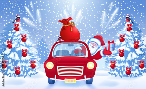 Papiers peints Chambre bébé Christmas card with Santa Claus in red car with gift box and bag against fir tree and salute background