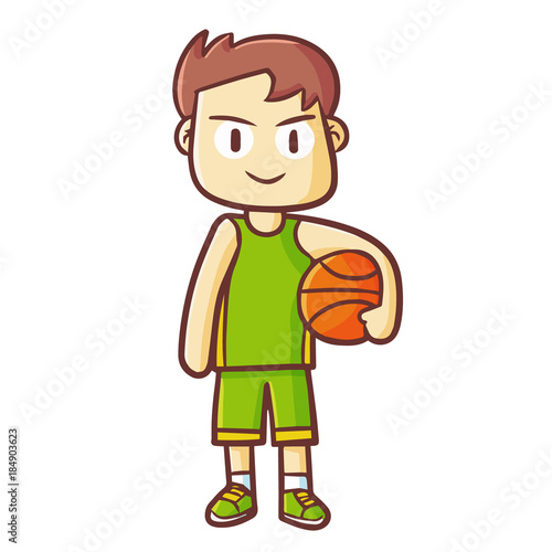 Poster Ouest sauvage Funny and cute male basketball player standing with ball - vector.
