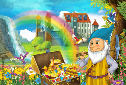Plakaty do pokoju dziecka cartoon-scene-with-beautiful-stream-rainbow-and-palace-in-the-background-little-dwarf-is-standing-near-hidden-home-in-old-tree-quarding-chest-full-of-treasures-and-smiling-illustration-for-children