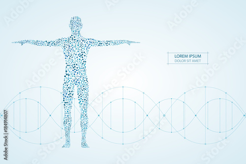 Stampa su Tela Abstract human body with molecules DNA