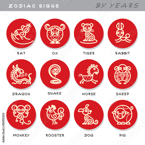 Zodiac Signs Vector Icons Of Astrological Animals By Years