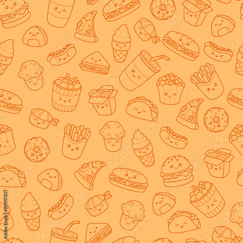 Set Of Vector Cartoon Doodle Icons Junk Food Illustration