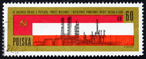 Valokuva  Postage stamp Poland 1978 Russian and Polish flags