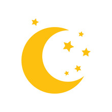 Moon And Stars. Yellow Moon An...
