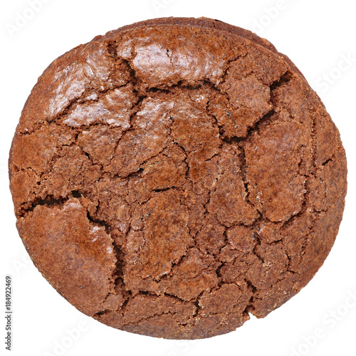 Tuinposter Koekjes Appetizing chocolate chip cookies close-up top view isolated