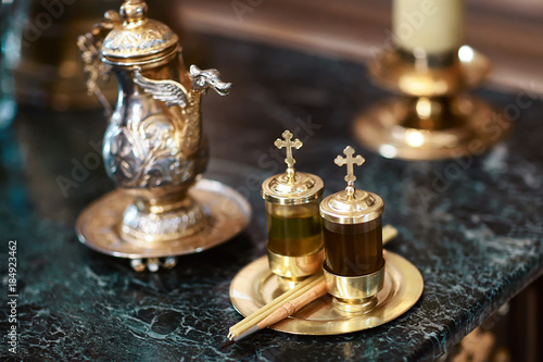 Chrismatory, chrismarium, jar for containing chrism oil Wallpaper Mural
