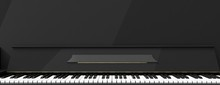 Piano Keys Front View, Banner. 3d Illustration