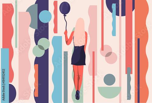 Illustration of woman holding balloon - 184932452