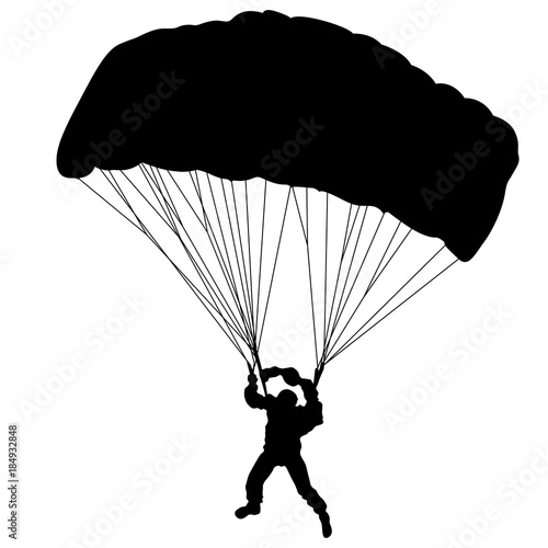 Skydiver, silhouettes parachuting vector illustration. Wallpaper Mural