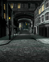 Street At Night With 19th Century City Buildings