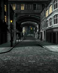 Panel Szklany Architektura Street at Night with 19th Century City Buildings