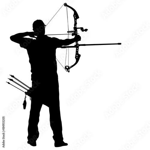 Photo Silhouette attractive male archer bending a bow and aiming in the target