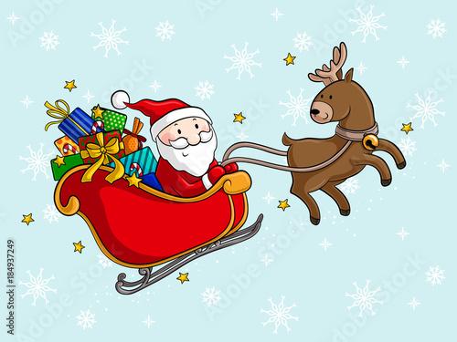 Comic Weihnachtsmann Mit Schlitten Buy This Stock Vector