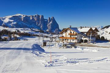 Italian ski resort with Dolomites in background