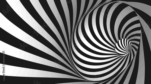 Vector optical illusion black and white twisted stripes abstract background Canvas Print