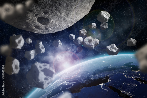 Asteroids near Earth Canvas Print