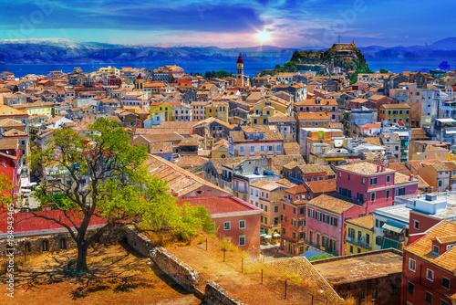 Photo Stands Ship Panoramic view of Kerkyra, capital of Corfu island, Greece.