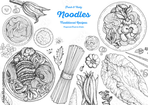 Foto  Asian food engraved sketch