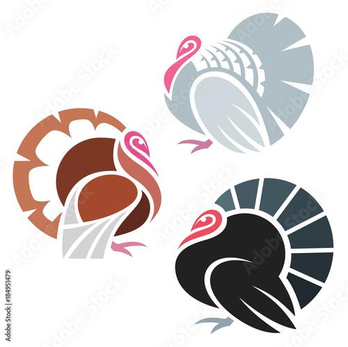 Stylized Turkey Birds Wall mural