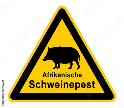 wso296 WarnSchildOrange - german - warnzeichen: Wildschwein - Afrikanische Schwe Canvas Print