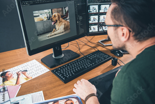 Fototapeta Side view bearded man having job with picture of cute dog in digital device while sitting at table in office. Profession concept obraz na płótnie