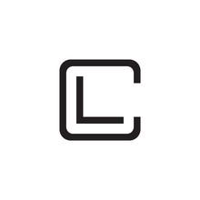 Initial Letter C And L, CL, LC, Overlapping L Inside C, Line Art Logo, Black Monogram Color