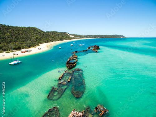 An aerial view of the Shipwrecks on Moreton Island