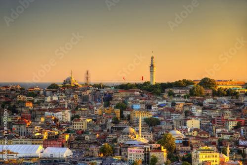 Deurstickers Marokko Istanbul Aerial with Blue Mosque and Hagia Sophia