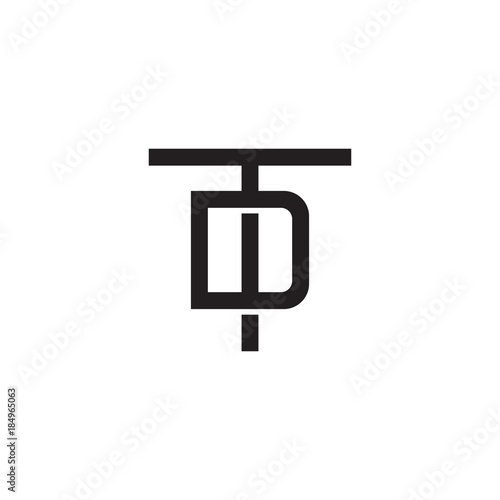 Initial Letter T And D Td Dt Overlapping D Inside T Line Art