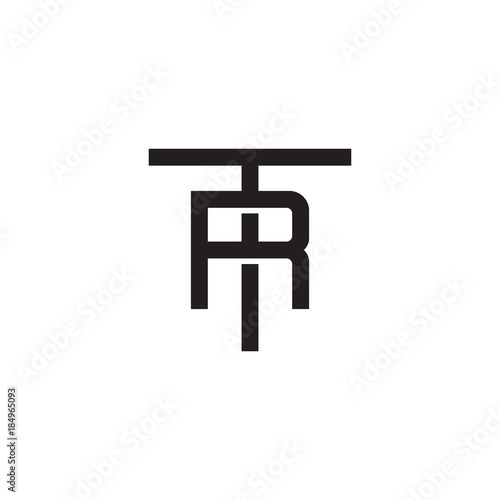 Superieur Initial Letter T And R, TR, RT, Overlapping R Inside T, Line