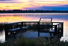 A Bird Viewing Platform At Sunrise Over Jessie Lake