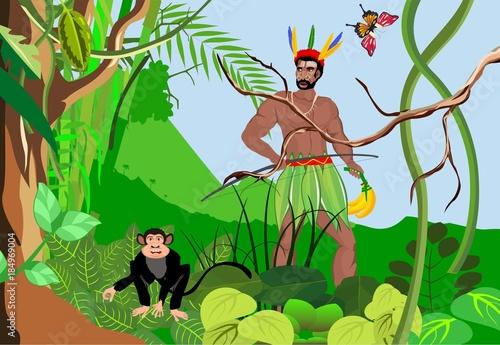 Green jungle backgound, aboriginal man and monkey, wildlife background. #184969004