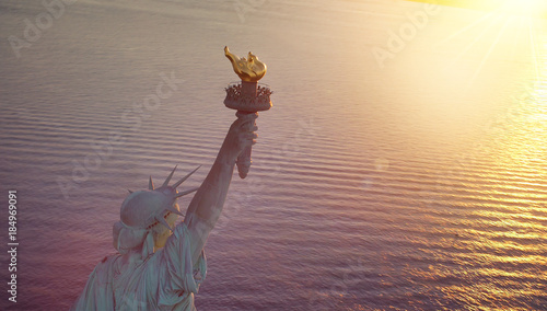 Foto op Aluminium Historisch mon. Statue of Liberty with copy space