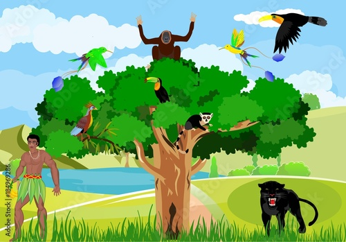 Aboriginal In The Jungle Wild Jungle Scene Black Panther Trees