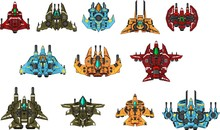 Collection Of Various Space Ships For Creating Top Down Space Shooter Games