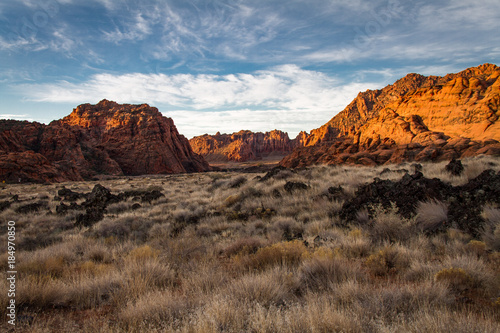 Tuinposter Gorgeous early winter glowing view of The sandstone and volcanic rock of Snow Canyon State Park in southern Utah.