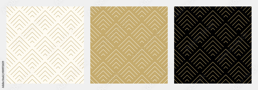 Fototapeta Pattern seamless chevron abstract wave background stripe gold luxury color and line. Geometric line vector. Christmas background.