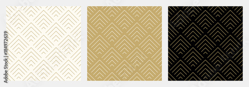 plakat Pattern seamless chevron abstract wave background stripe gold luxury color and line. Geometric line vector. Christmas background.